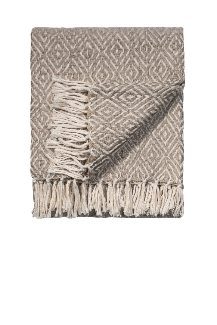 Natural Diamond Weave Recycled PET Yarn Blanket Throw