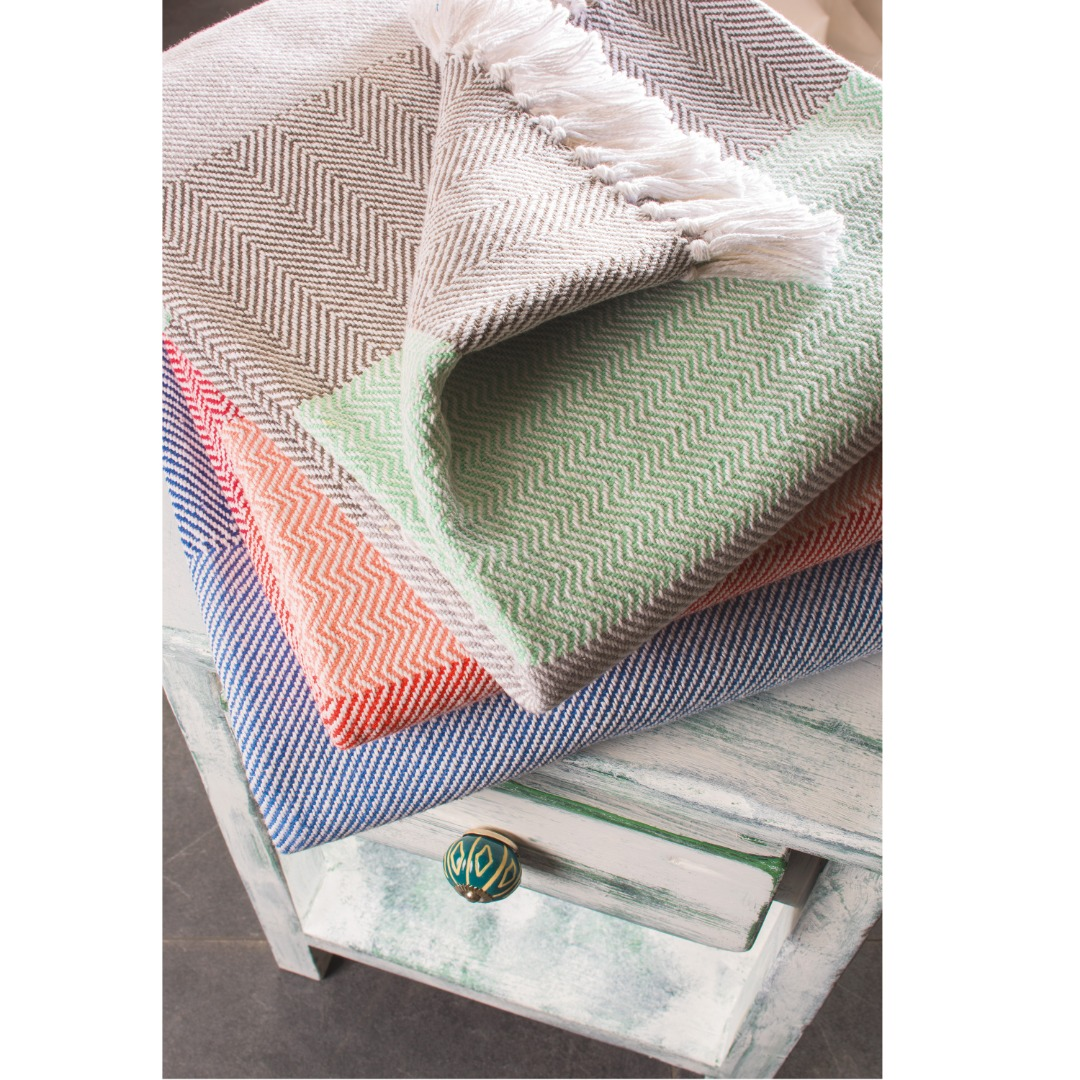 Herringbone Soft Cotton Blanket Throws Picnic Rugs Fair Trade Size; 130cm x 180cm