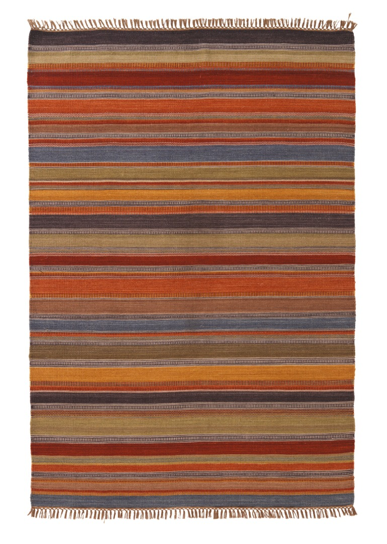 Natural Wool & Cotton multi-colour Stripe Ooty Kilim Rug with tassled ends