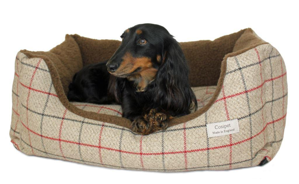 Rectangular Coffee Coloured Tweed Kalahari Dog Bed