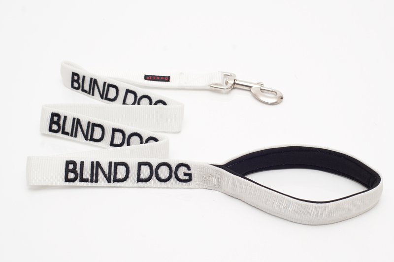 BLIND DOG,  Dog Lead Leash with padded Handle  White Colour Coded