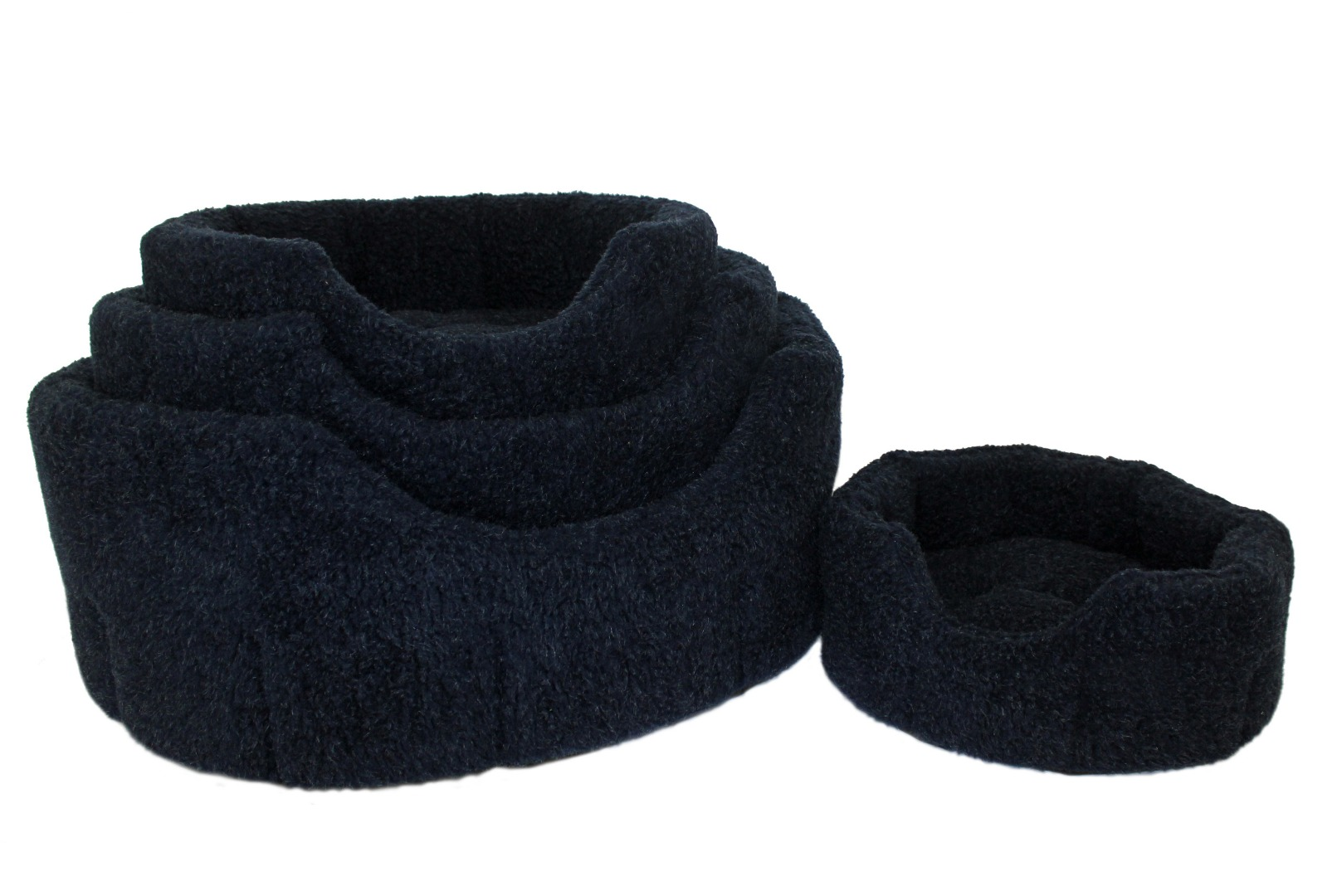 High Sided Luxury Fur Slumbernest Navy Blue Dog Bed