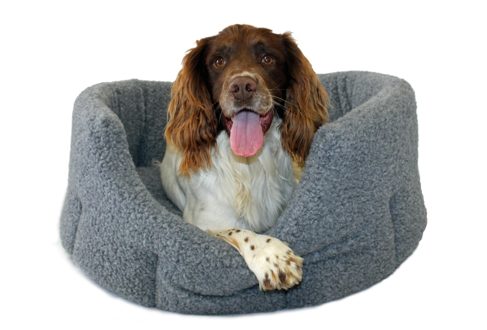 High Sided Luxury Fur Slumbernest Grey Dog Bed