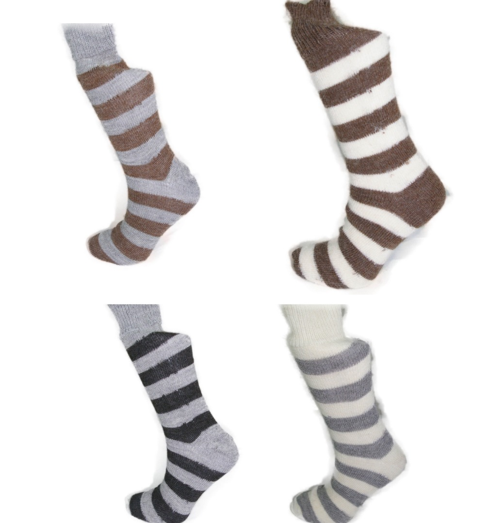 4 pairs of Alpaca Striped Socks, 55% Alpaca Wool.  Alpaca Sock<br><br>Gift Idea N