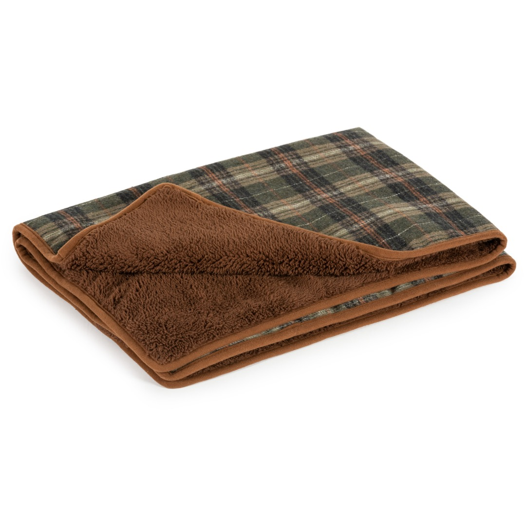 Ancol Heritage Green Check Dog Blanket Bedding 110 X 72CM
