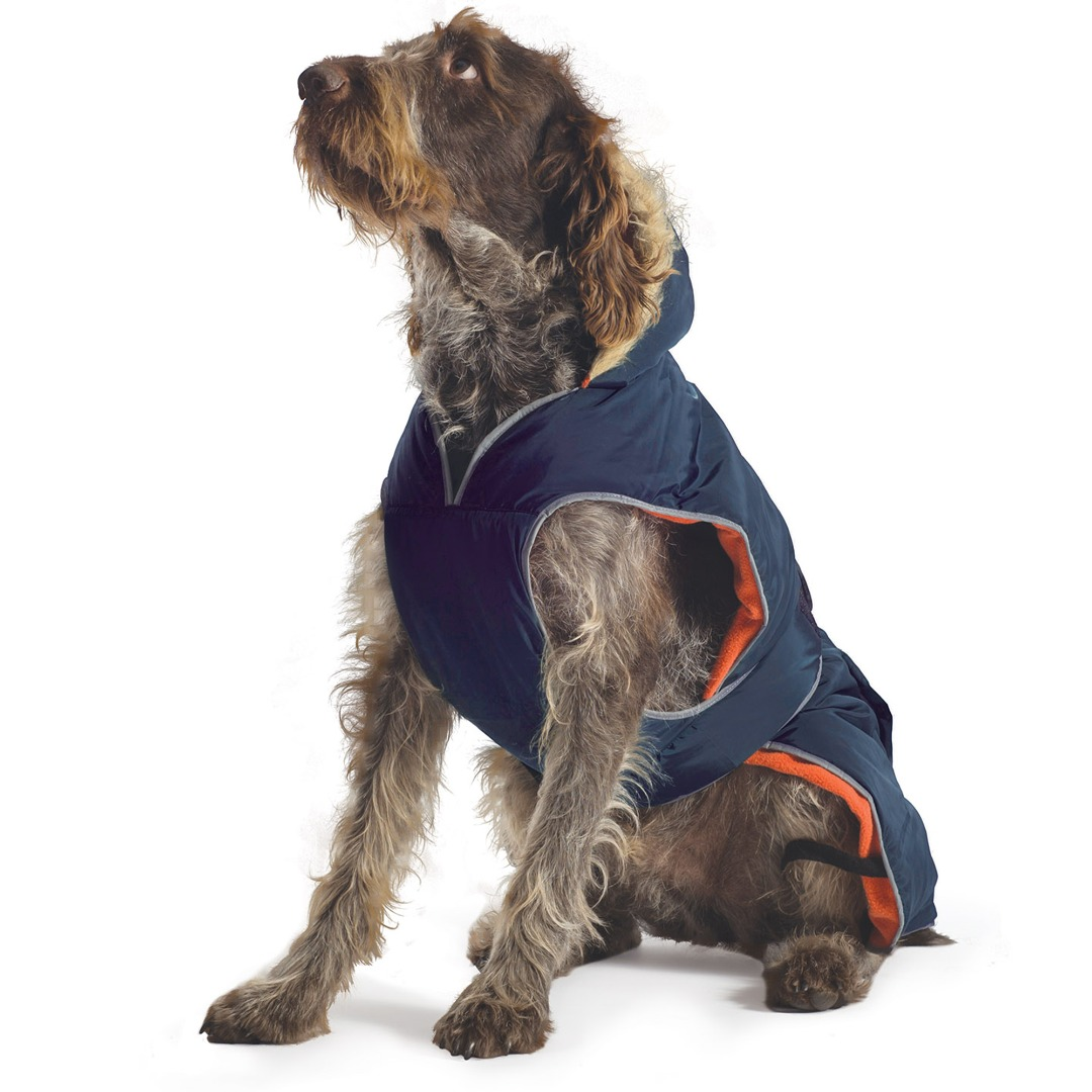 Navy Blue Parka Dog Coat Green with Orange lining