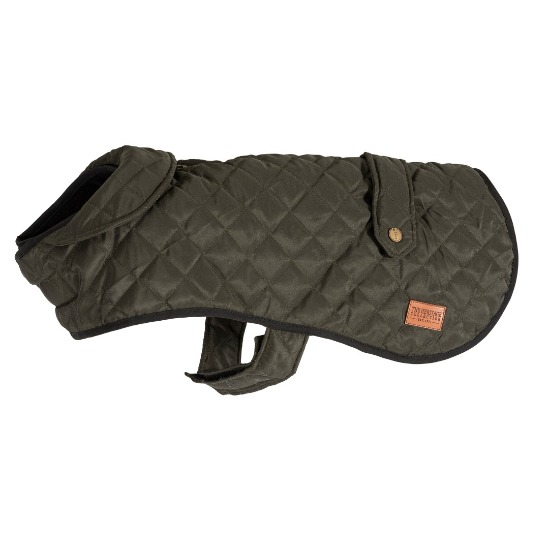 Heritage Quilted Olive Green Dog Coat