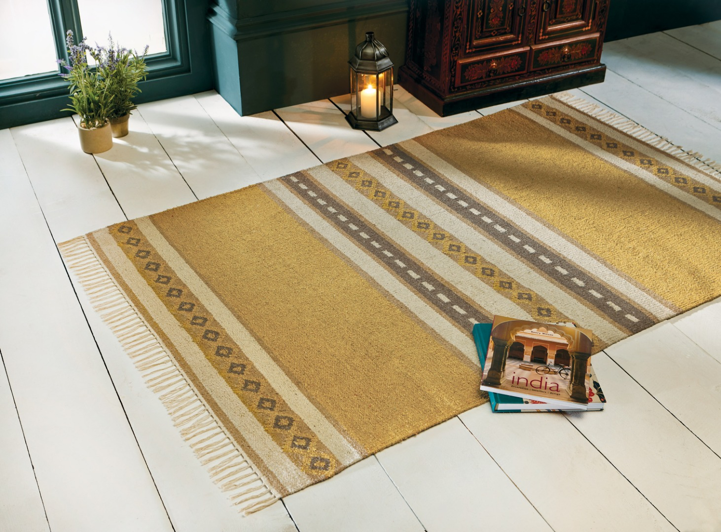 Fair Trade Indian Yellow and Brown Patterned Recycled Cotton Flat Weave Rug