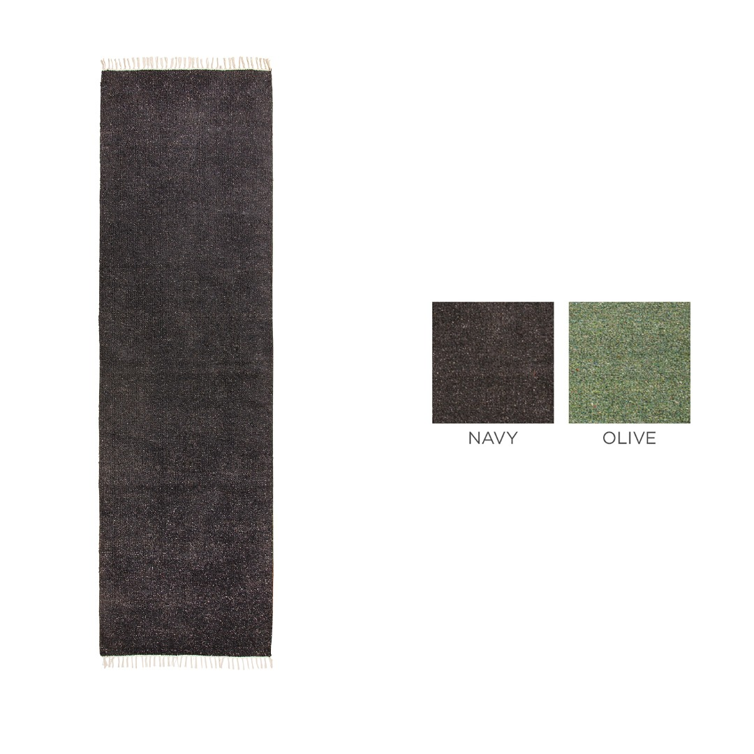 Plain coloured Cotton Yarn Recycled Rug Size 75 x 240cm