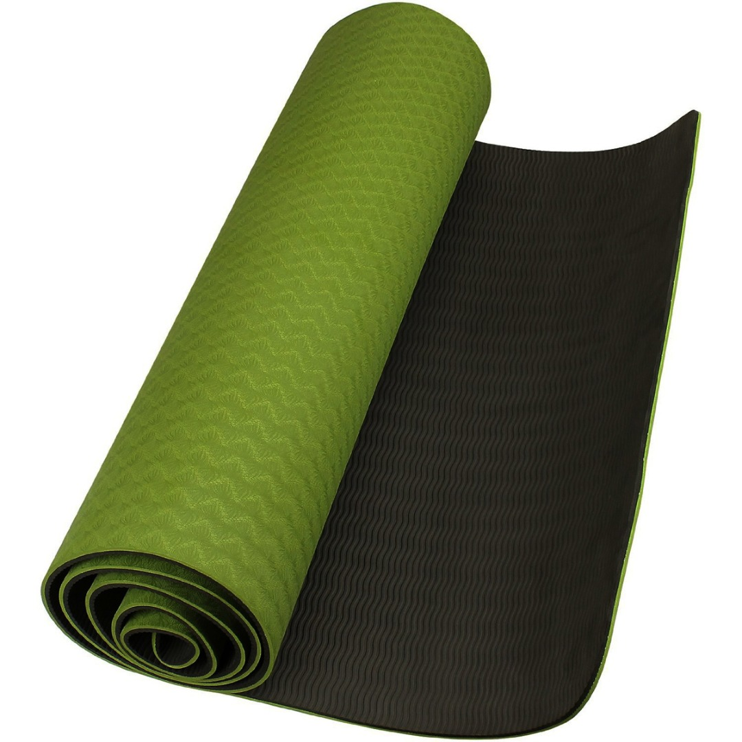 Dark Green Eco-friendly TPE yoga mat'sThick Exercise Fitness Physio Pilates Gym Mats