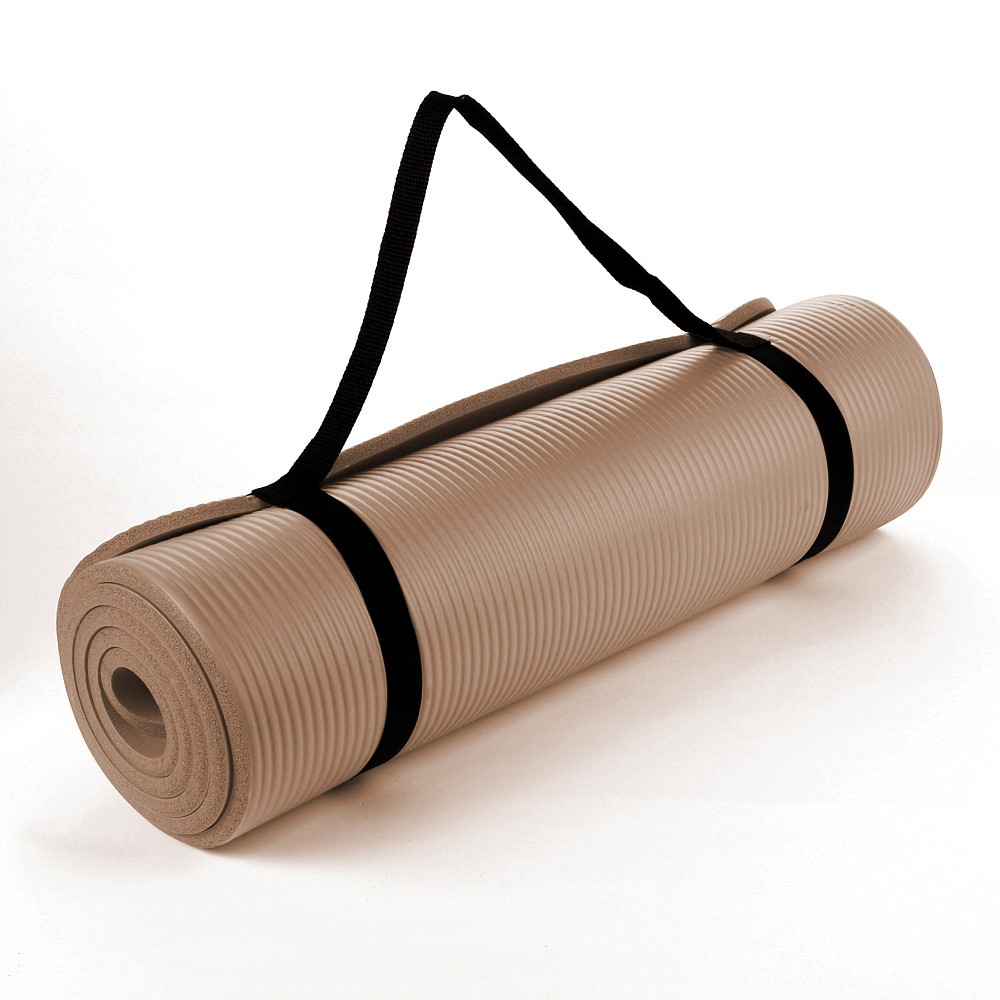 NBR Toffee Brown 15mm Thick Exercise Fitness Gym Yoga Mat 190cm x 60cm