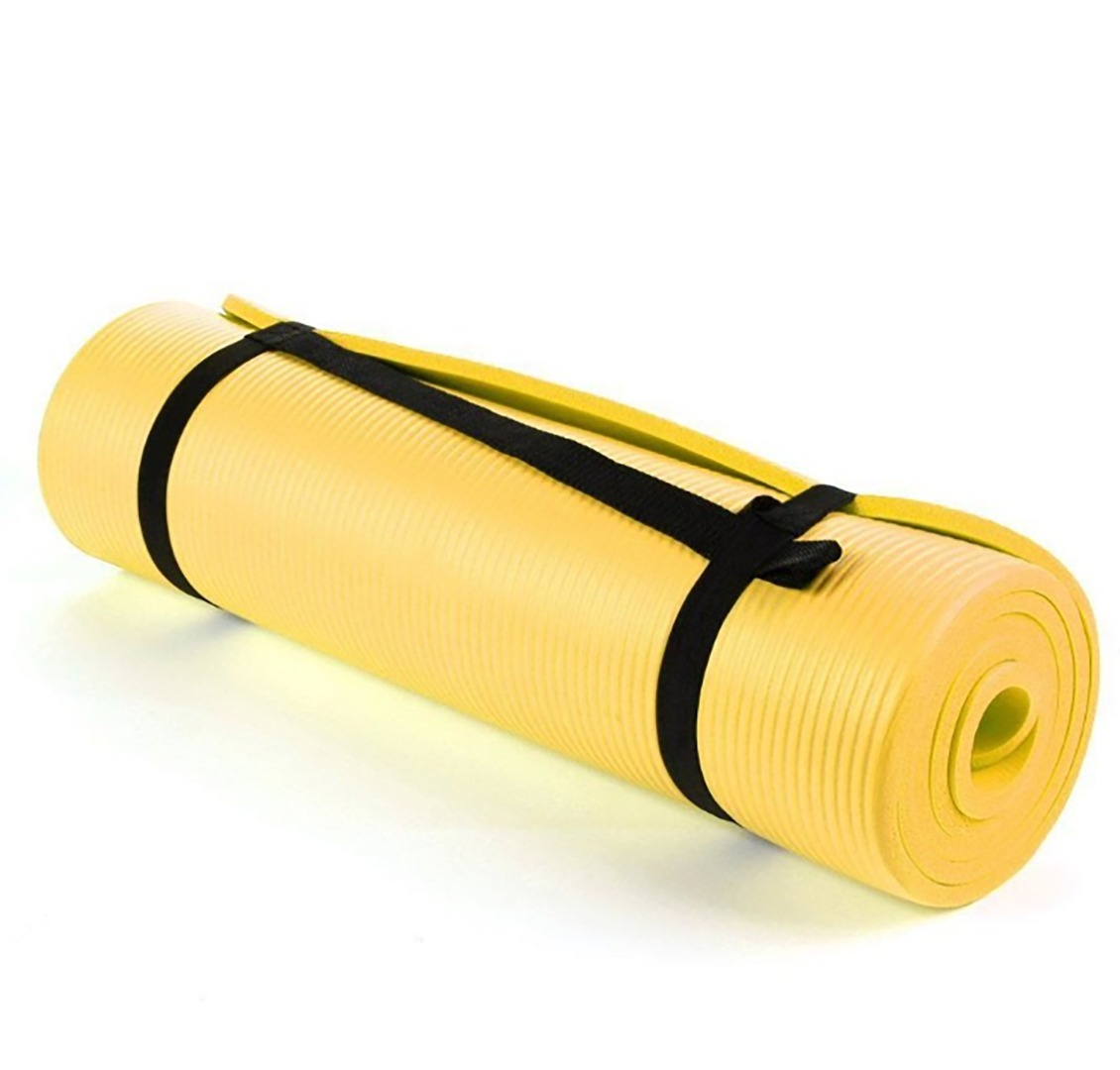 NBR Yellow 15mm Thick Exercise Fitness Gym Yoga Mat 190cm x 60cm