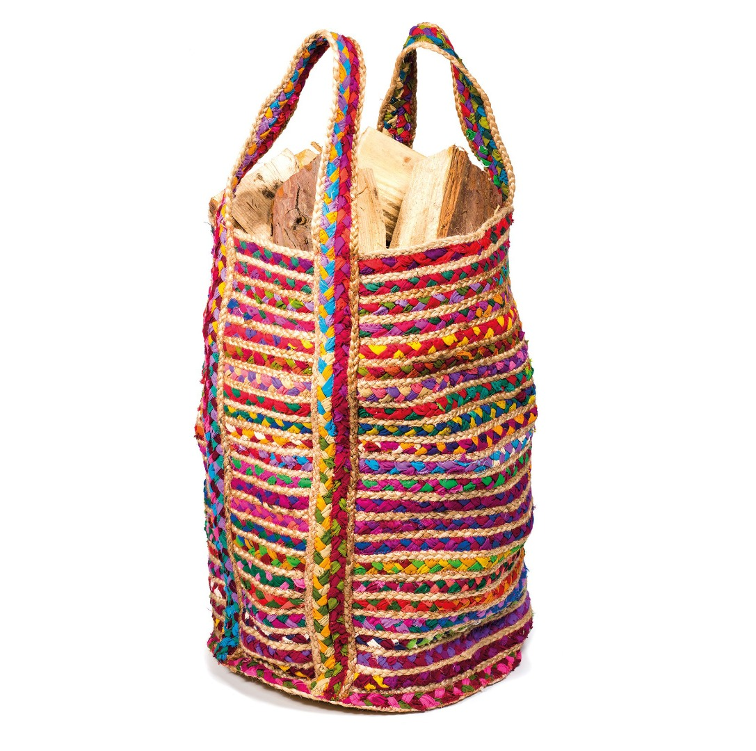 Multi-Coloured Jute and Cotton Fair Trade Large Storage Bag  40cm x 60cm GoodWeave Label