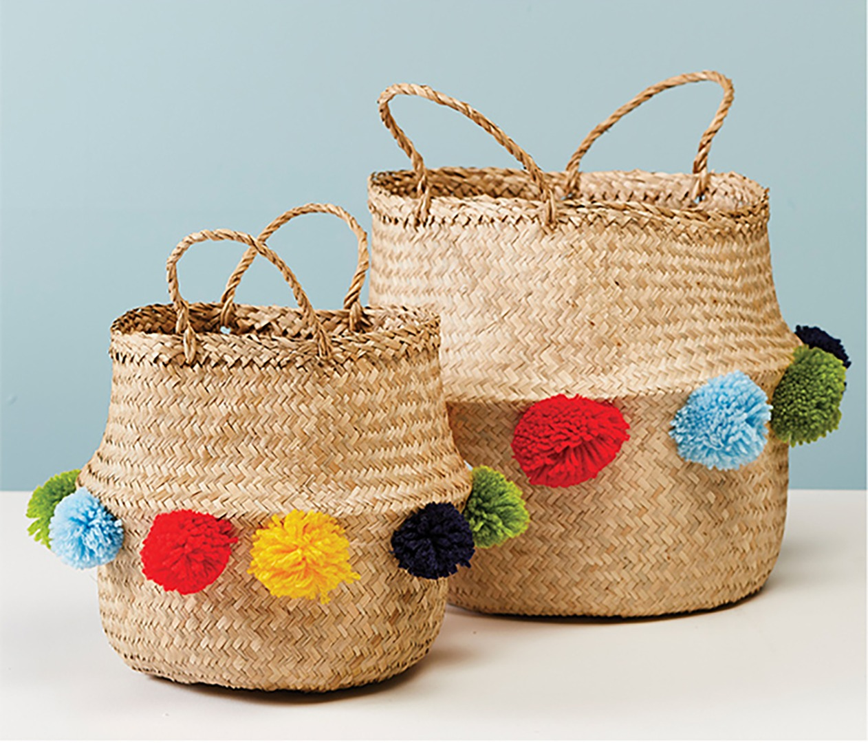Natural Seagrass Basket with Giant Pom-Pom edging  2 sizes