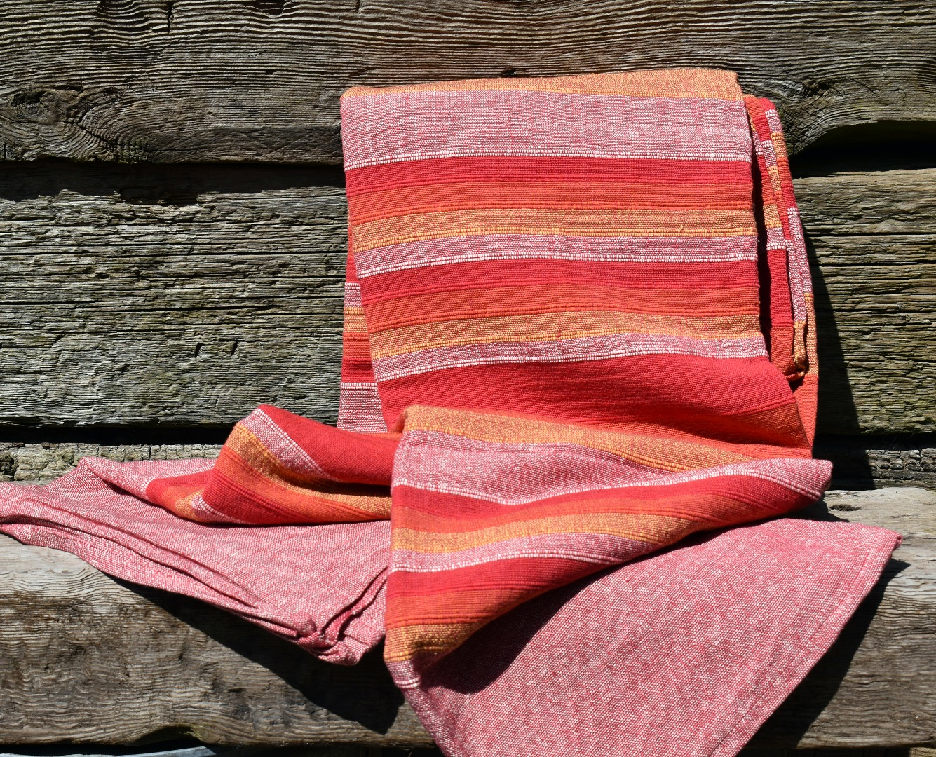 Extra Large Red Stripe Assorted Summer Slub Cotton Throws/Bedspreads 230cm x 255cm