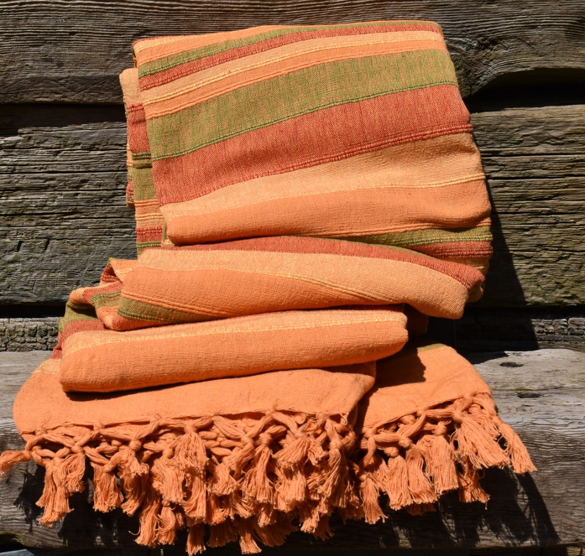 Extra Large Orange multi stripe Slub Bedspread Throw Blanket 230cm x 255cm