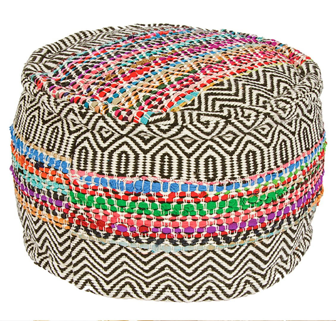 Traditional Handloomed Recycled Filled PET Pouffe, Foot stall Seat 50cm x 50cm x 30cm