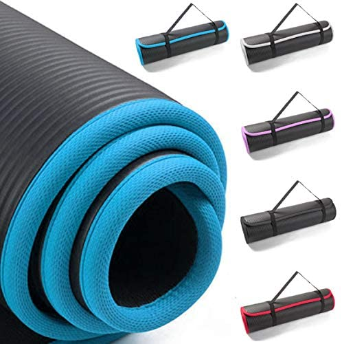 Tear resistant 12mm NBR Yoga exercise Mat with contrasting coloured trim