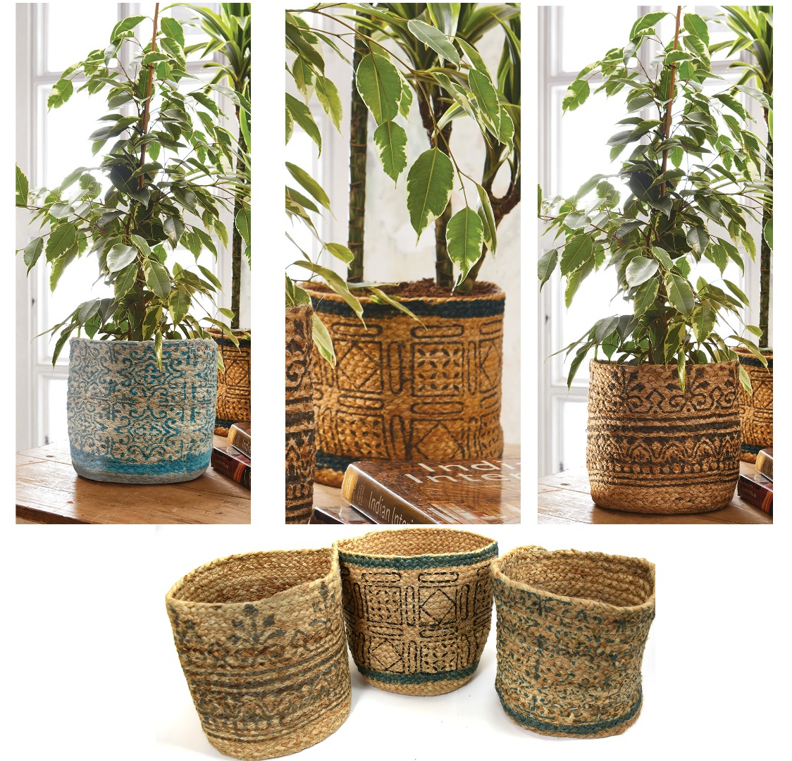Hand braided Tribal look block print storage basket or plant pot