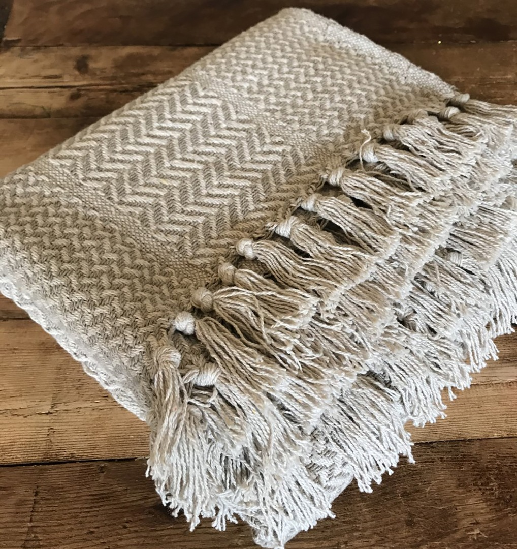 Soft Light Fawn and Cream Aztec design throw with tassel edging 130cm x 150cm