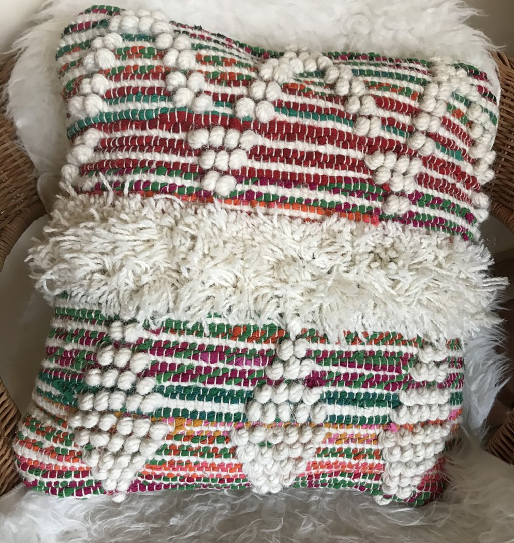 Square multi-coloured cushion with off white threads 45cm x 45cm
