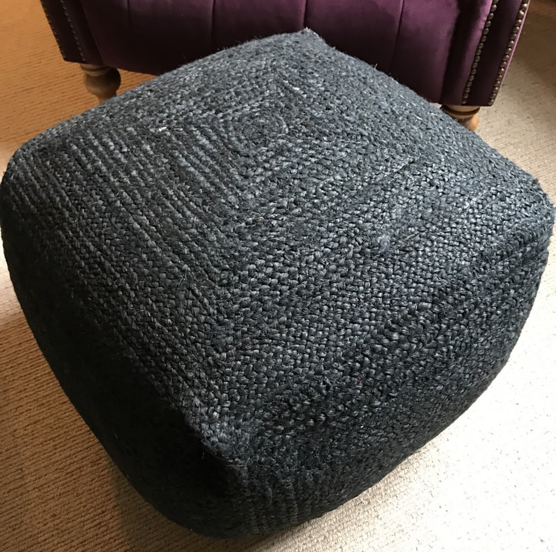 Square, black jute pouffe, cushioned foot stool, ottoman or low seat