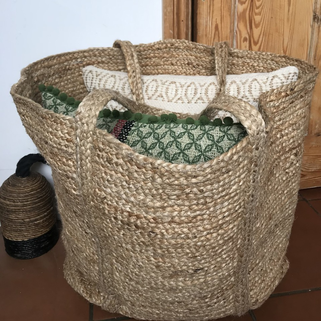 Large natural jute bag, log or laundry basket or toy storage bag