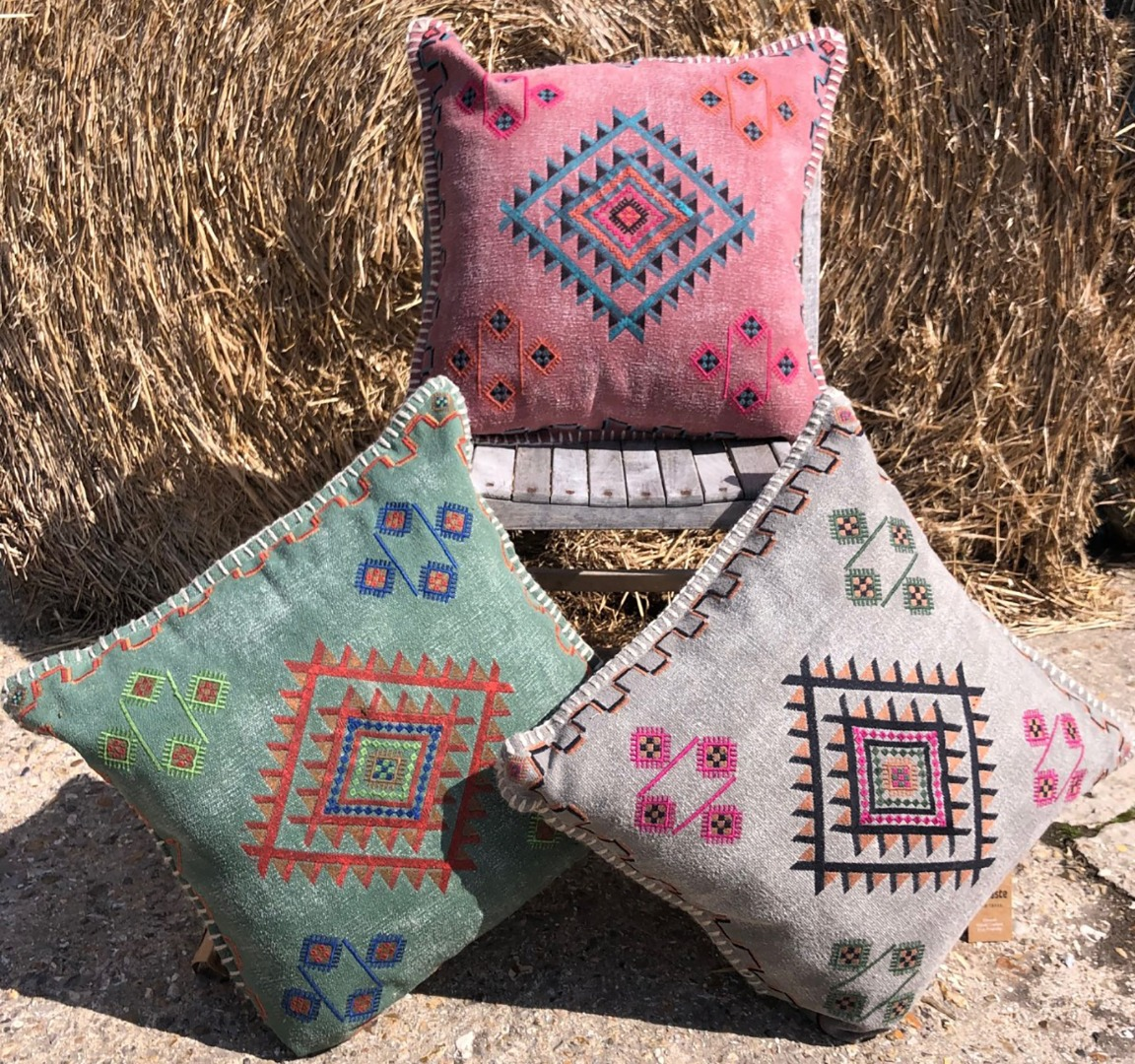 Cotton embroidered pattern cushion in 3 colours, 50cm x 50cm