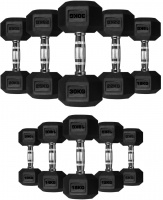 A PAIR  of Rubber Hexa Hex Dumbbells Weight Set Solid Dumbbell