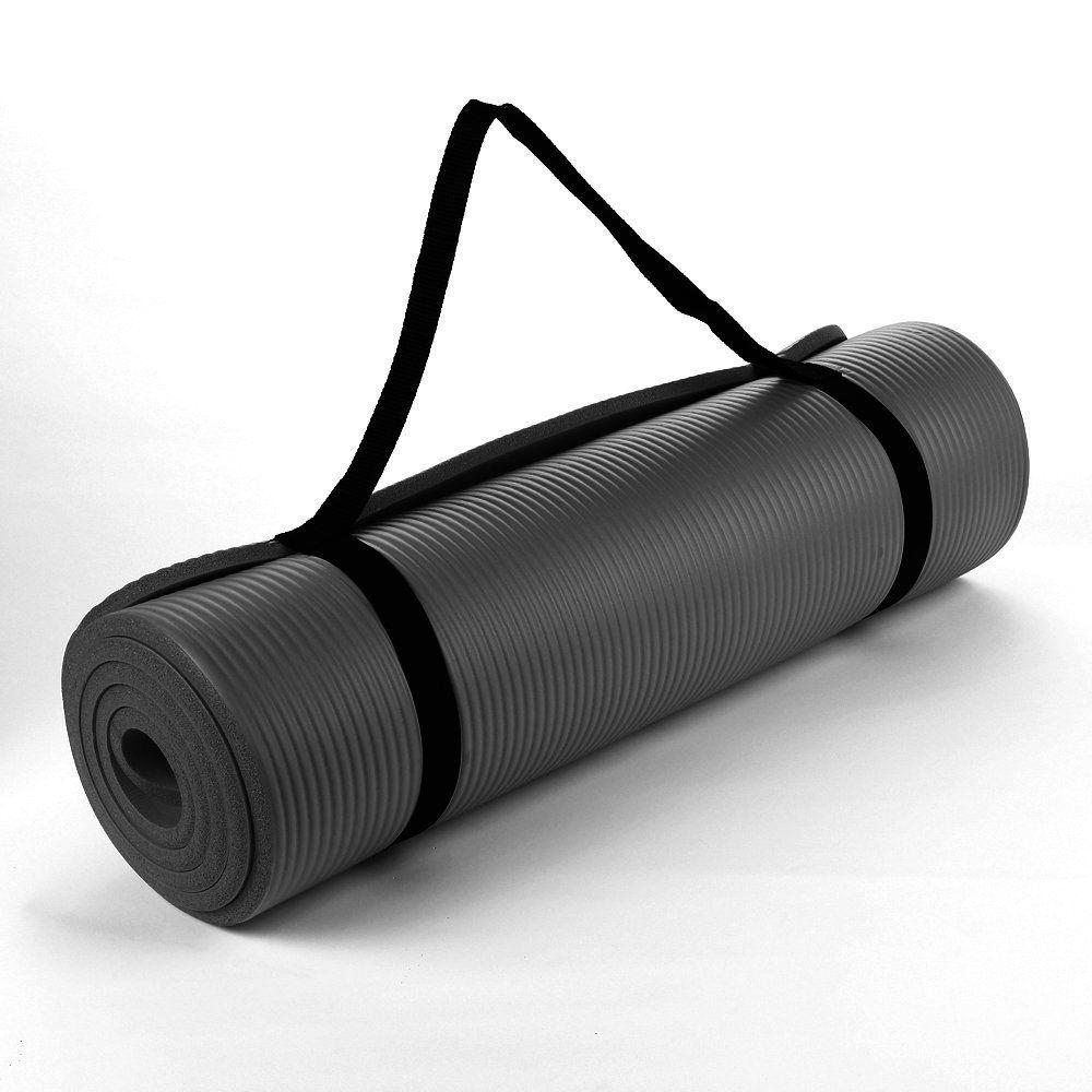 NBR Black 15mm Thick Exercise Fitness Gym NBR Yoga Mat 190cm x 60cm