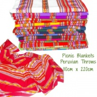 Peruvian Wool Throw, Picnic blanket, Bright colours, Great for Festivals 120 x 220 CM
