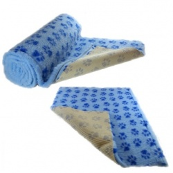 Light Blue Dark Blue Paws Vet Bedding NON-SLIP ROLL WHELPING FLEECE DOG PUPPY PRO BED