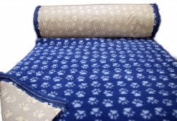 Dark Blue with light Paws Vet Bedding NON-SLIP ROLL WHELPING FLEECE DOG PUPPY PRO BED