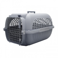 GREY PET CARRIER TRAVEL BASKET CRATE CARRY HANDLE & DOOR CAT DOG RABBIT PLASTIC (SMALL)