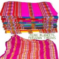 Peruvian Wool Throw, Picnic blanket, Bright colours, Great for Festivals 120 x 110CM